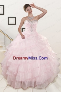 Best Selling Baby Pink Quinceanera Dresses with Beading and Ruffles