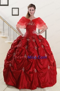 Wine Red Strapless Classical Quinceanera Dresses with Appliques