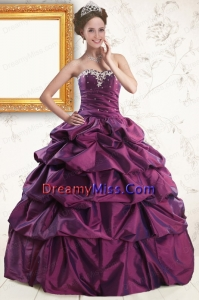 2015 Classic Sweetheart Purple Quinceanera Dresses with Appliques and Pick Up
