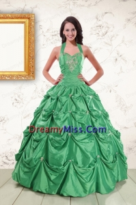 Classic Halter Top Quinceanera Dresses with Appliques and Pick Ups