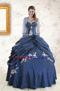 Classic Sweetheart Navy Blue Quinceanera Dresses with Wraps