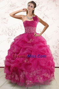 One Shoulder Appliques and Pick Ups Classic Quinceanera Dresses in Fuchsia