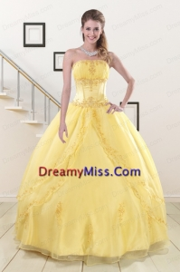 Popular Yellow Strapless Organza Quinceanera Dresses with Appliques