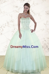 Popular Apple Green Sweetheart Quinceanera Dresses with Beading