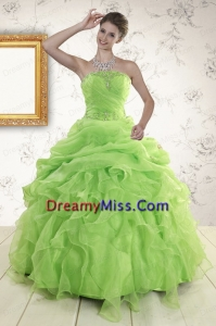 Pretty Green Quinceanera Dresses with Beading and Ruffles