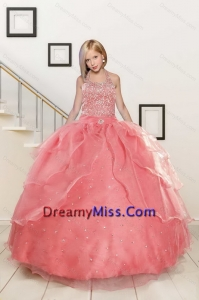 Exquisite Watermelon Red Flower Girl Dress with Beading for 2015