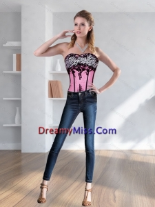 Cute Zebra Printed Multi Color Corset with Embroidery