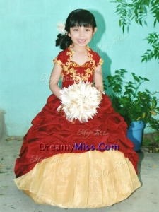 Romantic Applique and Pick Ups Little Girl Pageant Dress with Short Sleeves