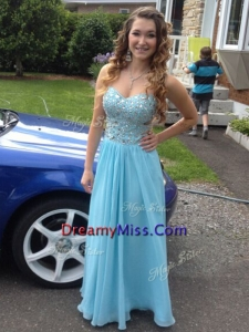 Beautiful Beaded Empire Prom Dress with Light Blue