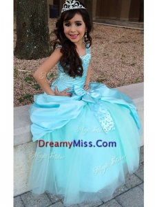 Beautiful Straps Big Puffy Little Girl Pageant Dress with Beading and Bowknot