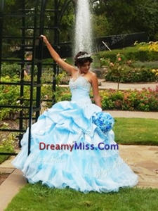 Elegant Beaded and Pick Ups Big Puffy Quinceanera Dress in Light Blue
