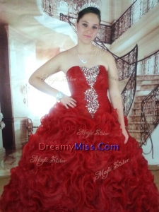 Gorgeous Rolling Flowers Red Quinceanera Dress with Beading and Ruffles