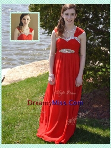 Wonderful Empire Straps Red Prom Dress with Beading