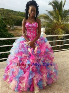 Affordable Rainbow Big Puffy Quinceanera Dress with Sequins and Ruffles