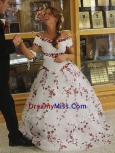 Classical Off the Shoulder White and Red Quinceanera Dress with Embroidery
