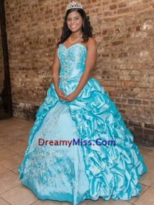 New Style Pick Ups and Applique Quinceanera Dress with Puffy Skirt