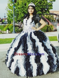Romantic Applique and Ruffled Big Puffy Quinceanera Dress in White and Black