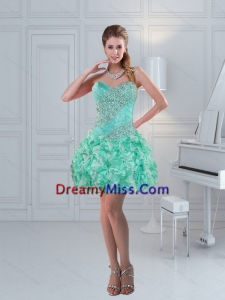 Apple Green Sweetheart Ruffled Beaded Beautiful Prom Dresses for 2015