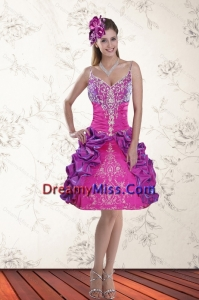 2015 Lovely Ball Gown Straps Multi Color Prom Dresses with Embroidery