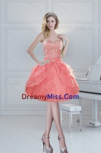 2015 Lovely and Puffy Sweetheart Watermelon Prom Dresses with Beading