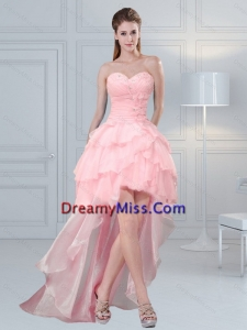 2015 Pretty Baby Pink Sweetheart Beaded Prom Dresses with Ruffled Layers