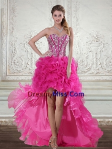 2015 Pretty Hot Pink High Low Sweetheart Prom Dresses with Beading and Ruffled Layers