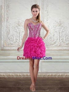 2015 Pretty Sweetheart Hot Pink Prom Gown with Beading and Ruffled Layers