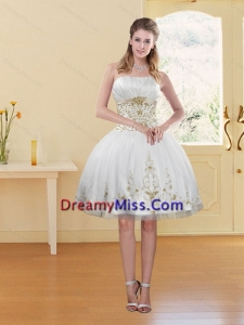 2015 Pretty White Strapless Prom Dress with Embroidery