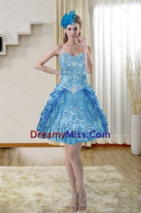 2015 Stylish Sweetheart Blue Prom Dresses with Embroidery
