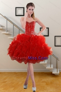 2015 Stylish Sweetheart Ruffled Red Prom Gown with Beading