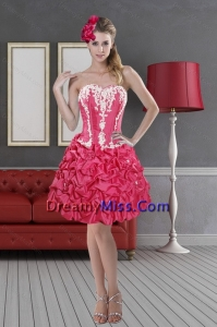 Hot Pink Stylish Sweetheart 2015 Pretty Prom Dresses with Pick Ups and Embroidery