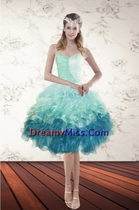Stylish Multi Color Sweetheart Ruffled Prom Gown with Beading