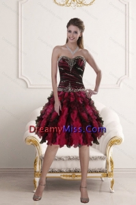Stylish Sweetheart Multi Color Prom Gown with Ruffles and Beading