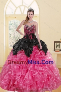 2015 Most Popular Beading and Ruffles Sweet 16 Dresses in Pink and Black