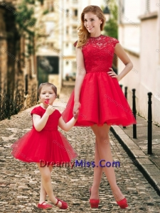 Feminine High Neck Backless Amazing Prom Dress in Red and Beautiful Mini Length Little Girl Dress with Cap Sleeves