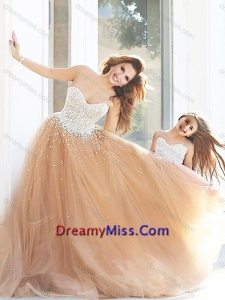 New Arrivals Beaded Amazing Prom Dress with Brush Train and Cheap Sweetheart Little Girl Dress with Beading