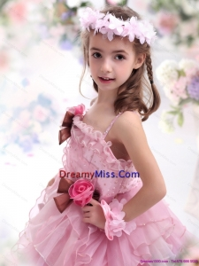 2015 Cute Baby Pink Little Girl Pageant Dress with Hand Made Flowers and Ruffles