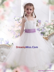 2015 Cute White Little Girl Pageant Dresses with Lilac Sash