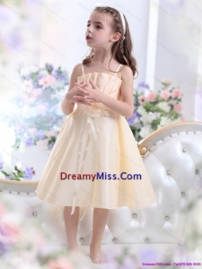 Champagne Spaghetti Straps Cute Little Girl Pageant Dresses with Waistband and Hand Made Flower