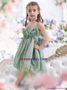 Cute Spaghetti Straps Little Girl Pageant Dress with Waistband and Hand Made Flower