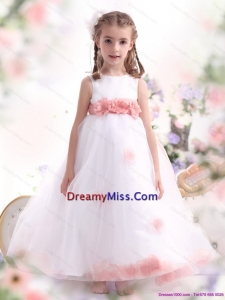 White Little Girl Cute Pageant Dresses with Pink Waistband and Hand Made Flower
