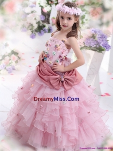 Cute Rose Pink Little Girl Pageant Dress with Hand Made Flowers and Ruffled Layers
