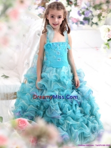Cute Straps Appliques and Ruffled Layers Pageant Dresses for Kids in Aque Blue