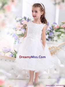Scoop Tea Length White 2015 Cute Little Girl Pageant Dress with Sash