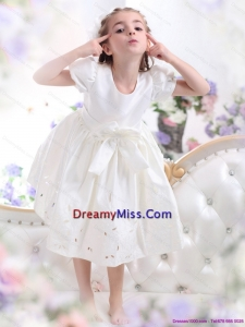 White Scoop 2015 Cute Little Girl Pageant Dress with Bownot and Cap Sleeves