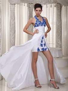 Customer Made Halter Appliqued High-low White Evening Dresses