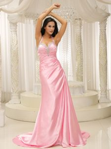 Halter Top Ruched Long Attractive Evening Gown Dresses in Rose Pink