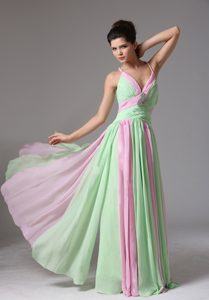 Wonderful Multi-color Spaghetti Long Evening Wear Dress with Ruches