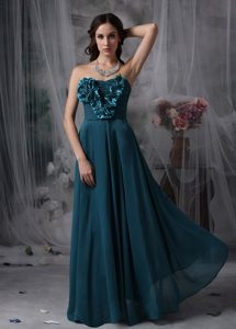 Turquoise Chiffon Popular Homecoming Evening Dresses with Flowers