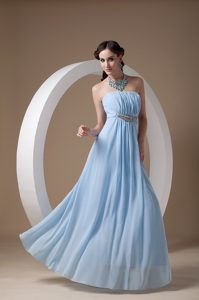 Elegant Light Blue Strapless Chiffon Ladies Evening Dresses with Ruches